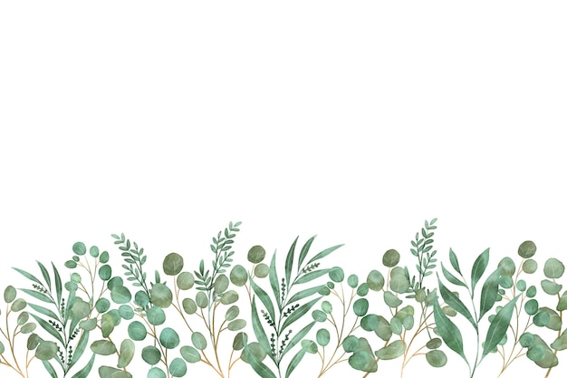 Vista frontale foglie con fiori Vettore Premium