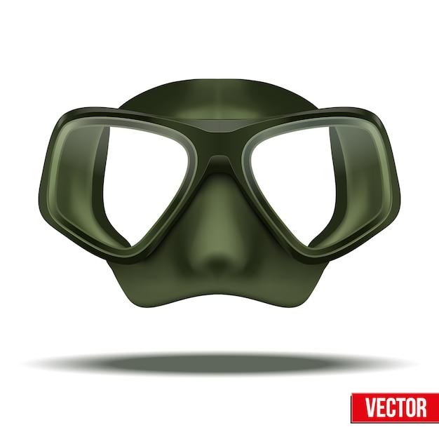 Vista frontale della maschera verde di immersioni subacquee. tempo libero in acqua, protezione in gomma su sfondo bianco Vettore Premium