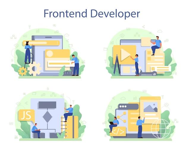 Set di concetti per sviluppatori frontend. miglioramento del design dell'interfaccia del sito web. Vettore Premium
