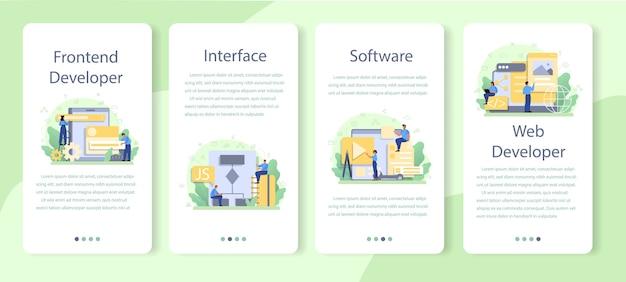 Set di modelli di applicazioni mobili per sviluppatori frontend. Vettore Premium