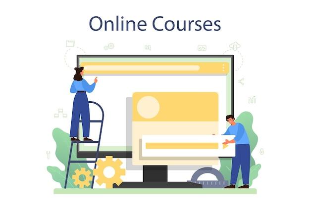Piattaforma o servizio online per sviluppatori frontend. miglioramento del design dell'interfaccia del sito web. programmazione e codifica. corso in linea. Vettore Premium