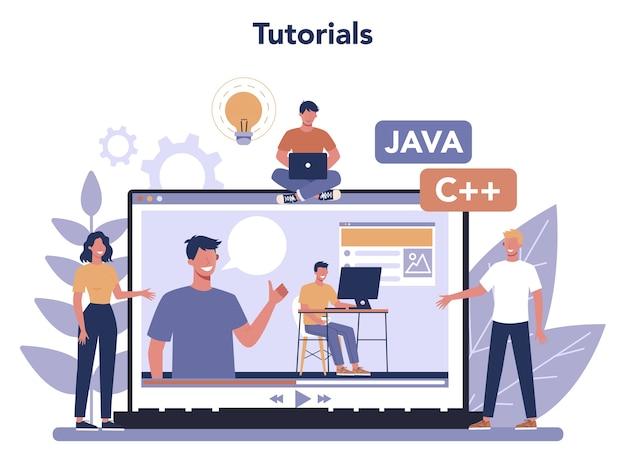 Piattaforma o servizio online di sviluppo frontend Vettore Premium