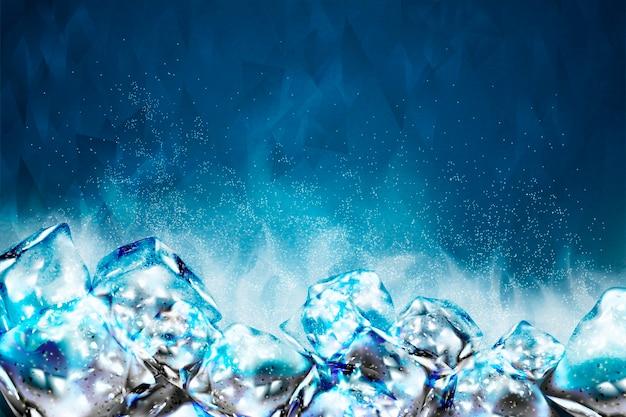 Sfondo di cubetti di ghiaccio gelido in tonalità blu Vettore Premium