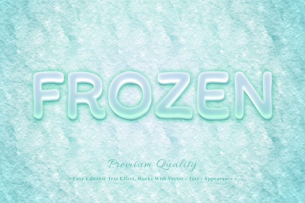 Effetto di carattere modificabile facile congelato 3d Vettore Premium