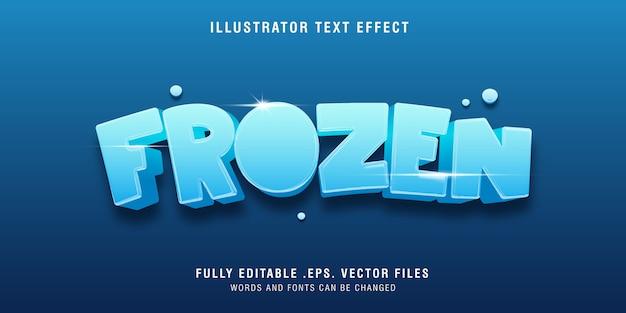 Effetto di stile di testo 3d congelato sul blu Vettore Premium
