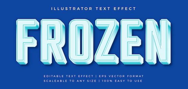 Effetto carattere ghiacciato stile testo congelato Vettore Premium