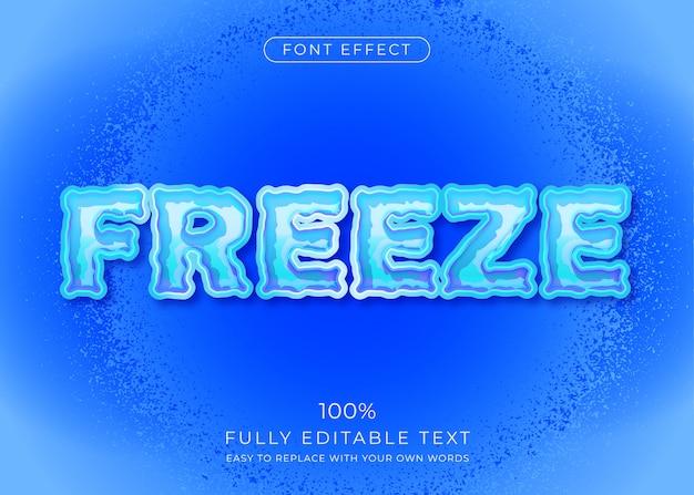 Effetto testo congelato. stile del carattere modificabile Vettore Premium