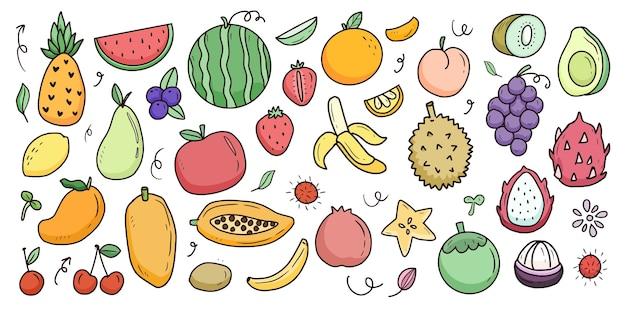 Grande raccolta di set di cartoni animati di frutta Vettore Premium