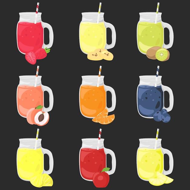 Insieme di clipart di vettore del fumetto del frullato della frutta. illustrazione colorata bevande isolato. Vettore Premium