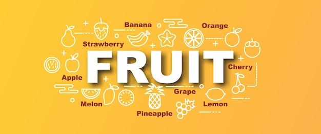 Banner di frutta vettoriale alla moda Vettore Premium