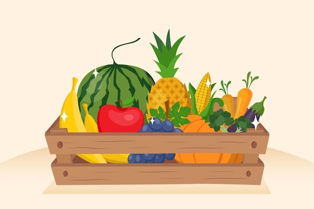 Sfondo di frutta e verdura Vettore Premium
