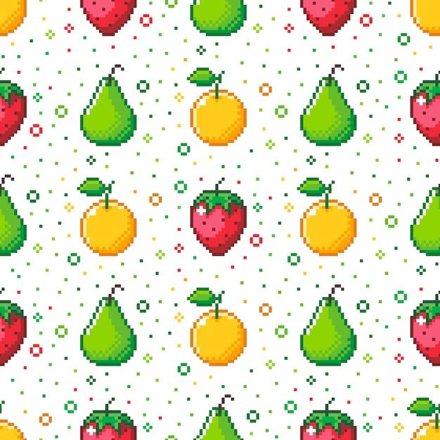 Pattern di frutta in stile pixel Vettore Premium