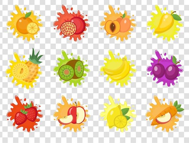 Spruzzata di frutta set di etichette. schizzi di frutta, gocce emblema. su uno sfondo trasparente. kit schizzi e macchie. illustrazione. Vettore Premium