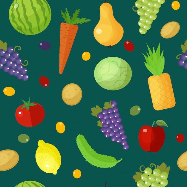 Modello senza cuciture di frutta e verdura Vettore Premium