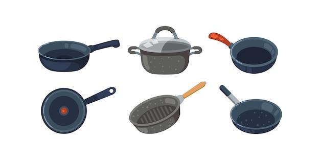 Set di icone di padella. pentole da cucina e padelle differenti isolati su priorità bassa bianca. Vettore Premium