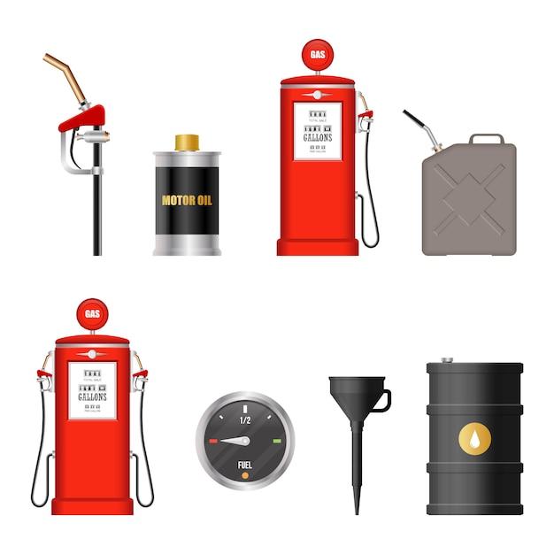 Illustrazione dell'attrezzatura del combustibile isolata su fondo bianco Vettore Premium