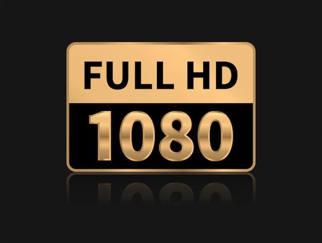 Icona full hd. risoluzione 1080p. Vettore Premium