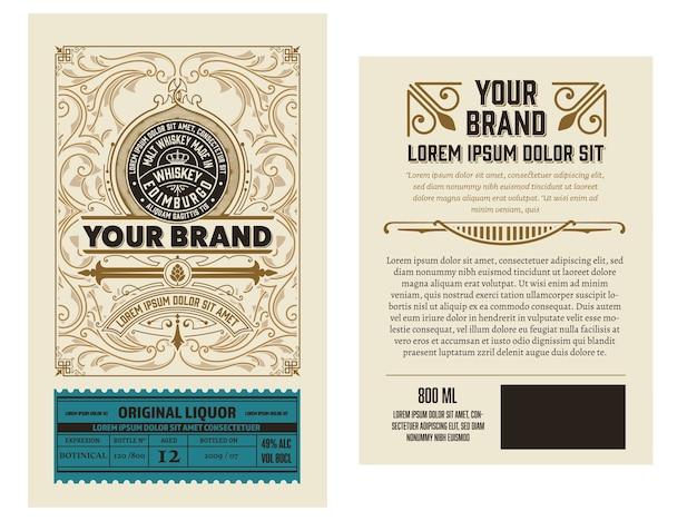 Design dell'etichetta per liquore completo con lati anteriore e posteriore. stratificato Vettore Premium