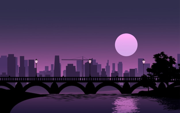 Luna piena sopra la città con fiume e ponte Vettore Premium