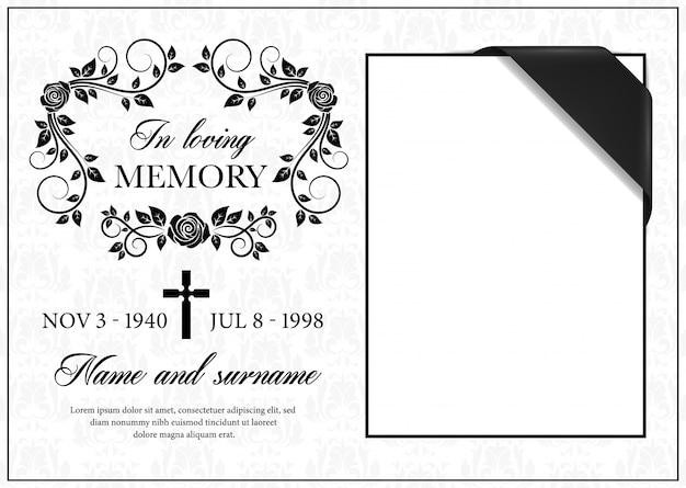 Scheda funerale, cornice di condoglianze vintage Vettore Premium