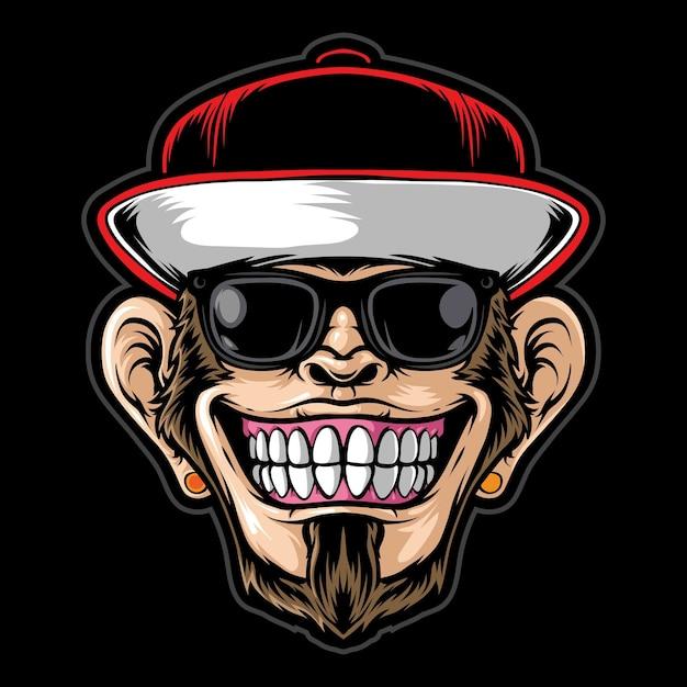 Scimmia funky che indossa occhiali da sole Vettore Premium
