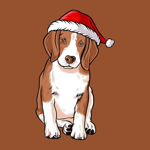 Divertente cane beagle che indossa il costume di babbo natale Vettore Premium