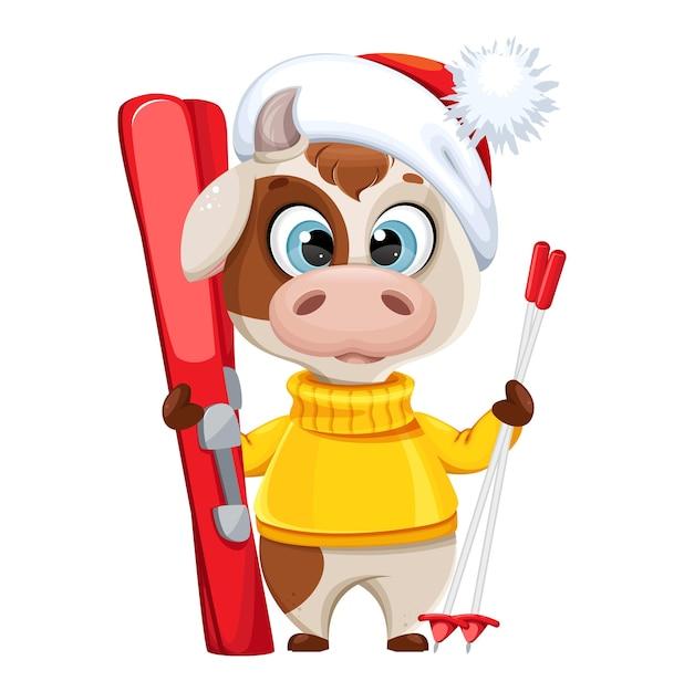 Toro divertente con gli sci. simpatico personaggio dei cartoni animati di toro Vettore Premium