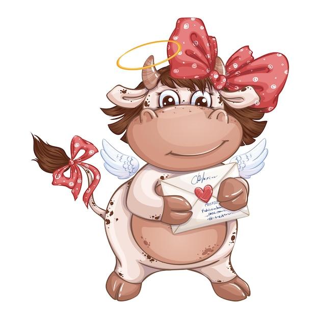 Ragazza divertente del vitello con un fiocco rosso che tiene un messaggio romantico in una busta con un timbro del cuore. Vettore Premium