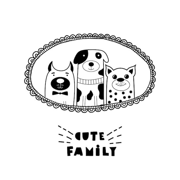 Scheda divertente con facce di gatti carino e lettering famiglia carino! Vettore Premium