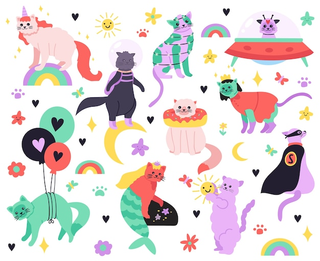 Gatti divertenti del fumetto. kitty sirena, unicorno, supereroe, astronauta e personaggi alieni, set di icone di illustrazione di gatti fata carino colorato. gattino dolce, gatto unicorno doodle e supereroe Vettore Premium