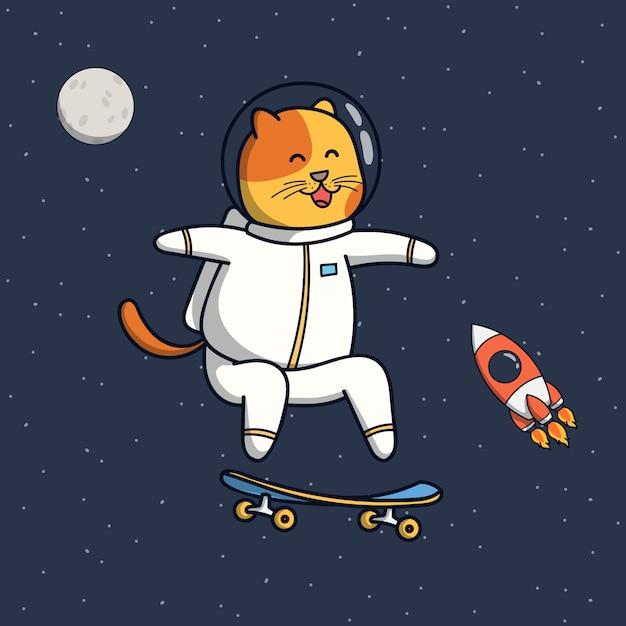 Illustrazione divertente dell'astronauta del gatto che gioca skateboard Vettore Premium