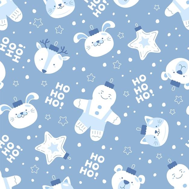 Divertente motivo natalizio con pupazzo di neve Vettore Premium