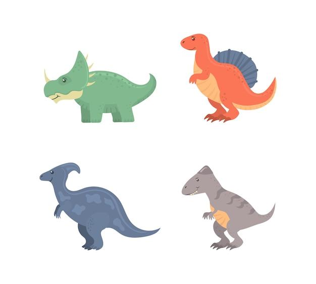 Divertente collezione di dinosauri del fumetto isolato su bianco Vettore Premium