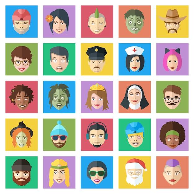 Set di caratteri vettoriali colorati divertenti. la gente di stile piano affronta le icone. simpatici avatar maschili e femminili. Vettore Premium