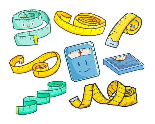 Nastro di misura del corpo divertente e carino in semplice stile doodle Vettore Premium