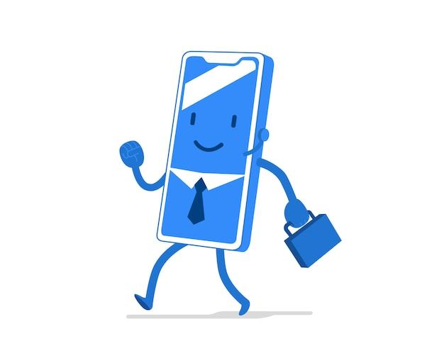 Personaggio dei cartoni animati divertente e carino per applicazione mobile, settore aziendale, uomo d'affari con cravatta e valigetta Vettore Premium