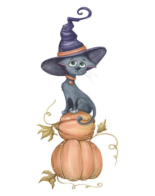 Gatto divertente e carino con cappello da strega, seduto su zucche. illustrazione di halloween Vettore Premium