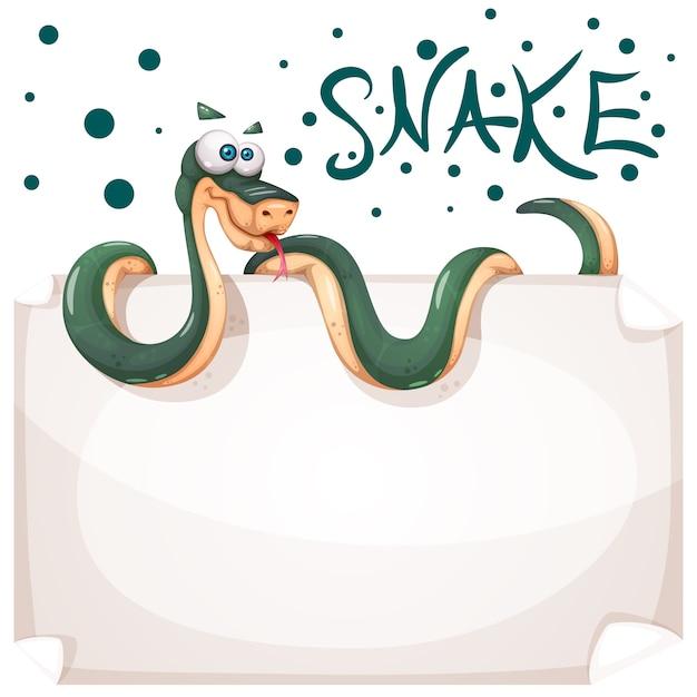 Personaggi di serpenti divertenti, carini e pazzi Vettore Premium