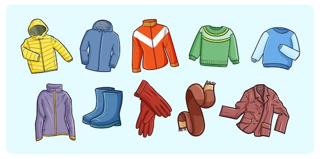 Illustrazioni divertenti e simpatiche di doodle del guardaroba invernale Vettore Premium