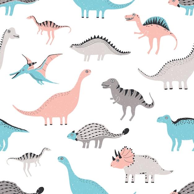 Dinosauri divertenti senza cuciture. simpatico sfondo infantile dino. trama disegnata a mano colorata. Vettore Premium