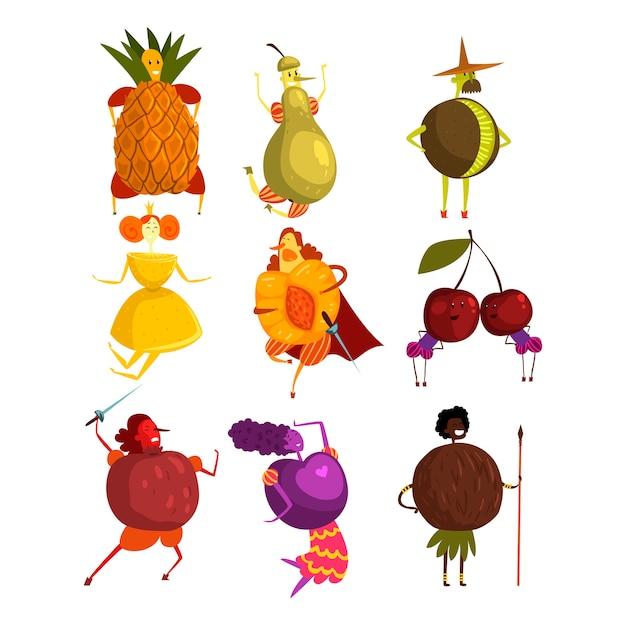 Set di personaggi dei cartoni animati divertenti frutti Vettore Premium