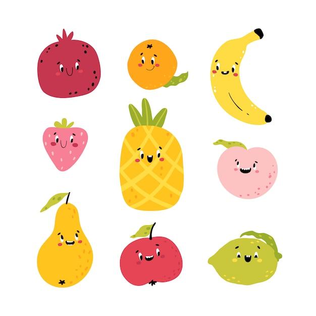 Frutti divertenti. collezione di cartoni animati di personaggi kawaii. simpatici volti di cibo. colorate illustrazioni infantili per il tuo design. isolato su uno sfondo bianco Vettore Premium