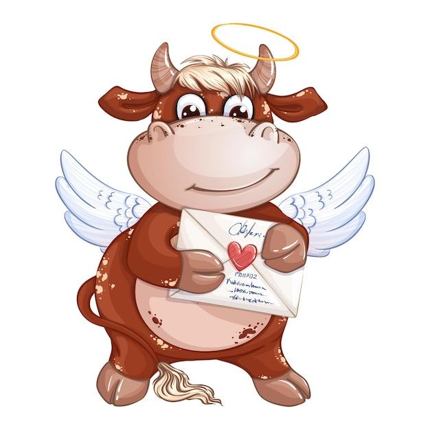 Un simpatico ragazzo vitello rosso con ali di cupido e aureola tiene una busta con un timbro a cuore. Vettore Premium