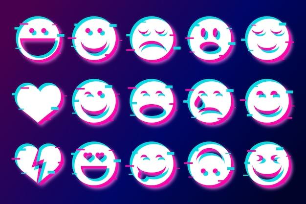 Divertenti emoji glitch per la raccolta di chat Vettore Premium