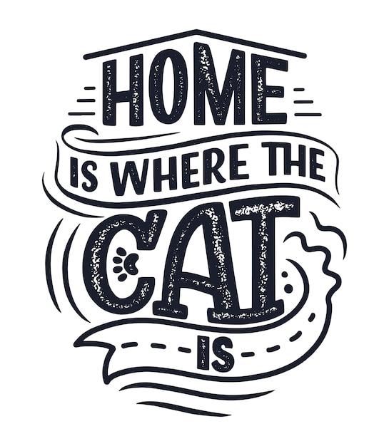 Citazione di lettere divertenti sui gatti Vettore Premium