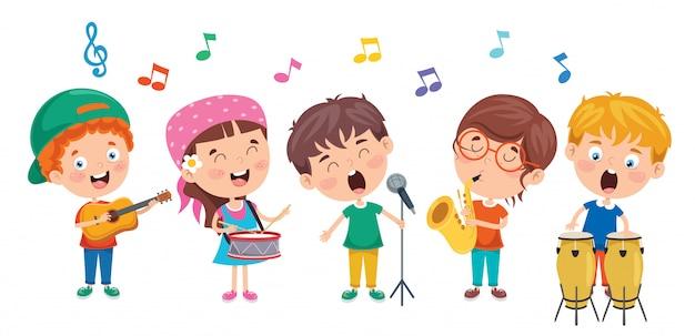Bambini divertenti che eseguono musica Vettore Premium