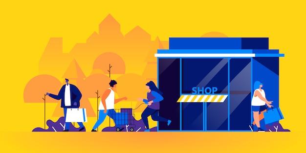 Uomini e donne divertenti con i sacchetti della spesa e i carrelli fuori del deposito Vettore Premium