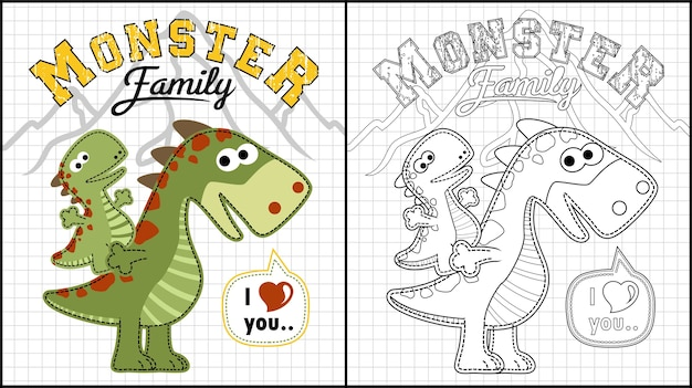 Fumetto divertente della famiglia del mostro Vettore Premium