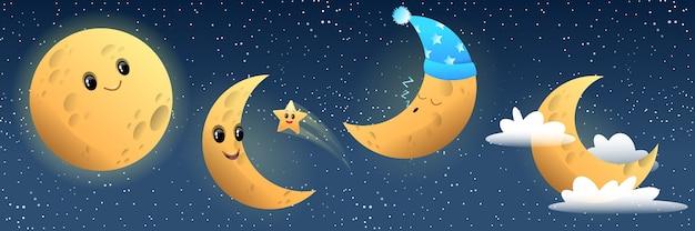 Collezione luna divertente, sorridente, dormiente Vettore Premium