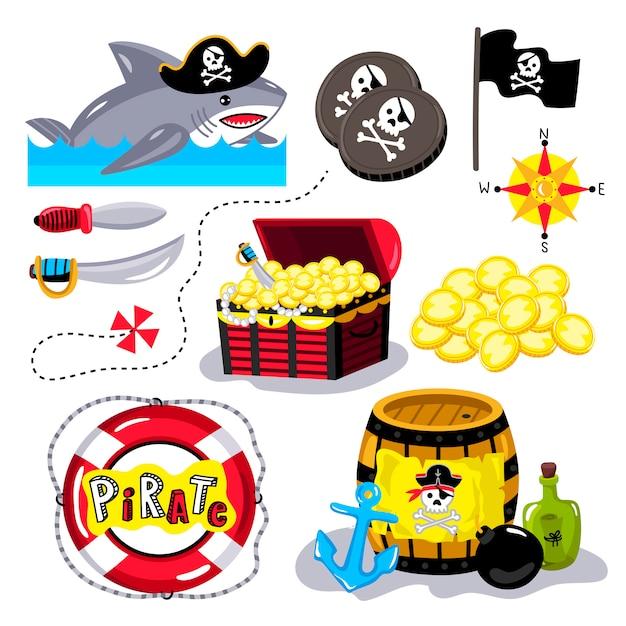 Elementi divertenti pirata isolati Vettore Premium